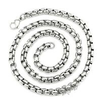 "3.5-5mm 7-40"" Mens 316L Stainless Steel Square Frames Chain Bracelet Necklace"