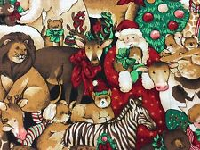 CHRISTMAS WITH SANTA & THE ANIMALS FABRIC BY SPRINGS-1/3 YARD