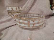 Vintage Leaf Pattern Glass Chip and Dip Bowl With Gold Accent