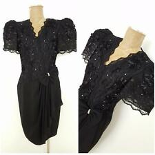 Vintage 80s Lace Dress Size Medium Black Puff Sleeve Cocktail Party Formal
