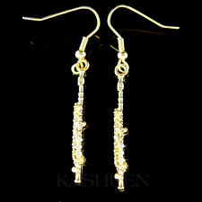 w Swarovski Crystal ~Gold Tone Flute~ Woodwind Music Musical Instrument Earrings