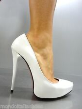 MORI ITALY PLATFORM HIGH HEELS PUMPS SCHUHE SHOES REAL LEATHER WHITE BIANCO 45