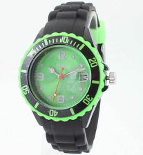 Classic Toy Watch Black Green Rotating Bezel Time & Date Display Rubber Band