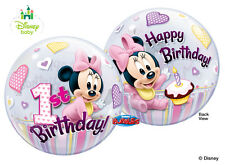 "Disney Baby Minnie Mouse 22"" Qualatex BUBBLE Balloons Birthday Party Supplies~"