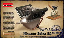 HISPANO SUIZA V8 ENGINE WITH BASE AND PE SET WWI 1/32 RODEN 622