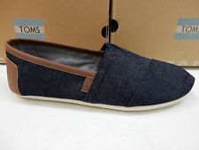 TOMS MENS SHOES CLASSIC DARK DENIM SYNTHETIC LEATHER LEATHER TRIM SIZE 10.5