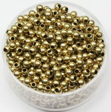 WHOLESALE 3 MM  RAW BRASS ROUND SEAMLESS HOLLOW  BEADS 1000 PCS. HOLE 1.5 MM