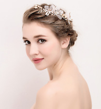 Bridal Organza Flower Beads Ivory Pearls Headpiece Gold Hair Clip Accessories