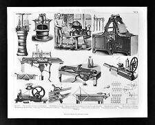 1874 BilderTechnology Print Various Spinning Weaving Machines Hat Press Washing