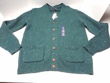 NWT Mens Size L Gap Green Wool Blend Cardigan Sweater Donegal