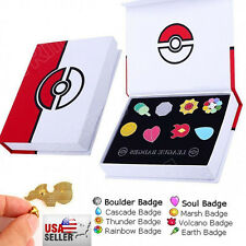 Cosplay Pokemon: Kanto League Gym Badges Set of 8 Metal Pins Gen Brooch With Box