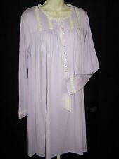 NWT S Eileen West Cotton Blend Long Sleeve winter Nightgown Purple Inset Lace