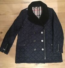 Stunning Womens Dark Navy Burberry Brit Quilted Shearling Jacket Coat Size XL