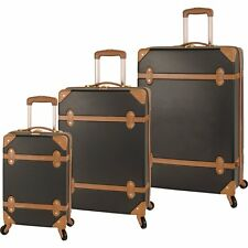 PREMIUM 3p Upright LUGGAGE SET Black Tan Vintage Design Spinner Hardshell Trunk