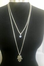 "Blue Evil Eye,  Hamsa Hand,Fatima Charm Layered Necklace Silver Tone 30"" Chain"