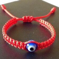 Baby Red String Bracelet, Blue Glass Evil Eye, Good Luck Charm.