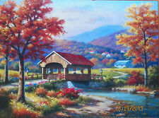 .PUZZLE.....JIGSAW.....KIM....Covered Bridge In Fall.....500pc..