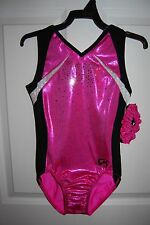 GK Elite Gymnastics Leotard - Child Medium - Pink/Black/White Sparkle