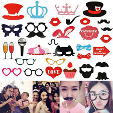 31Pcs DIY Photo Booth Props Mask Mustache On A Stick Wedding Birthday Party New