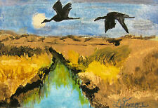 "ORIGINAL ACRYLIC ART ACEO PAINTING BY LJH ""GEESE OVER MARSH""  A311"