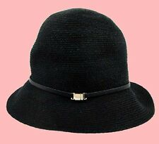 HELEN KAMINSKI KALEO 6 Black Raffia/Leather Women's Hat Msrp $255.00 *Free s/h*