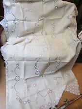 belle ancienne nappe broderie filaos la reunion et 8 serviettes lin ecru fleurs