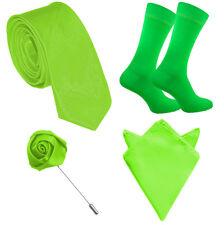 Mens Matching Tie Sock Pocket Square, Lapel Pin Set Orange Blue Pink Green Neon