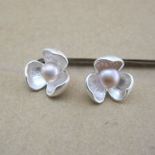 9925 Sterling Silver Flower Open Bud Studs Earrings Freshwater Pearl