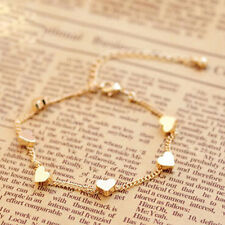New Fashion Women Heart Gold Plated Chain Bracelet Bangle Jewelry GIft