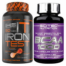 Iron Test 90 Tabl. + BCAA 1000 100 Caps. Testosterone Booster + Amino Acids