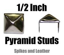 "100 silver/chrome pyramid/square studs 1/2"" spike 12 mm spot heavy duty USA Tack"