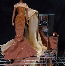 Barbie Glamour Gown Wrap Necklace Bronze Glitter Fits Silkstone Model Muse