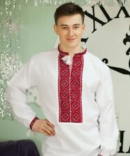 Embroidered Ukrainian Vyshyvanka Men's National Linen Shirt Handmade