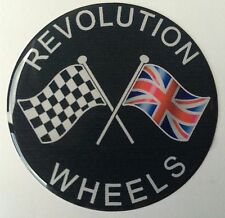 60MM REVOLUTION WHEELS WHEEL CAP CROSSED FLAG RESIN DOME MINI FORD ESCORT