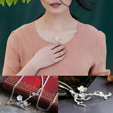 Sterling Silver Cherry Blossom Pendant Necklace Branch Chain Flower Gift Box S2