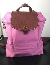 AUTHENTIC Classic Longchamp Packable Backpack In Fuchsia W/ Brown Leather Trims
