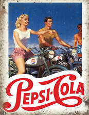 Pepsi Cola Motorcycles Cafe Diner Bar Kitchen Old Garage Small Metal/Tin Sign