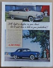 1950  magazine ad for Ford -  convertible, Fordor photos, Light a bonfire