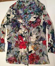Alberto Makali Womens XL Floral Butterflies Button Front V Neck Blouse Shirt