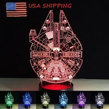 New 3D LED Night Light Lamp 7 Color Changing Touch Switch Spacecraft Lamps