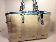 New Coach Gallery Tote Shopper Handbag Purse Blue Baby Bag 1869 NWT $398 60% OFF