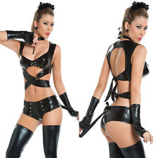 Women Sexy Lingerie Cat Women Cosplay Costumes 4PCS Set Patent Leather Set