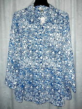CJ Banks Plus Size 2X Blue Long Sleeve Button Front Poly Casual Tunic Top NWTS