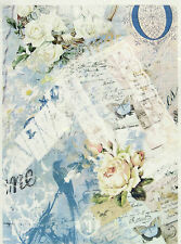 Papel De Arroz Para Decoupage Decopatch Scrapbook Craft Hoja Vintage Rosas Blancas