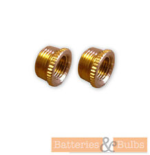 "X2 BRASS LAMPHOLDER REDUCER 1/2"" - 10mm KNURLED REDUCTION BUSHES"