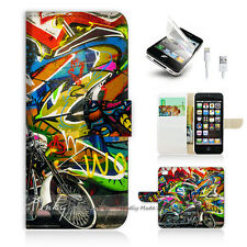 iPhone 5 5S Print Flip Wallet Case Cover! Graffiti and Motocycle P0144