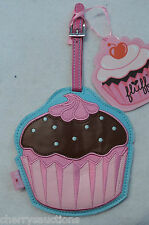 Cakes Cupcake DOTS chocolate FLUFF vegan leather LARGE LUGGAGE TAG fluffcakes nw