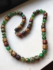 Art Deco/Vintage - Greens and Blues Venetian Glass Beads Necklace