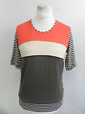 FRANK WALDER ladies multicolour strip t-shirt SIZE 38 / 12 RRP £53 BOX8500 AD