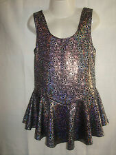 Black Bubble 4 way Lycra Leotard Dress.  Gymnastics.Twirling, ice skate  8 yrs